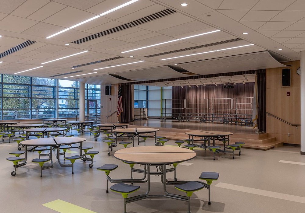School cafeteria and stage